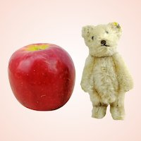 """Steiff teddy bear with button, smallest 4"""", 1950s vintage white fully jointed miniature OTB"""
