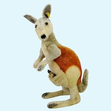 "Steiff kangaroo Linda with ID and baby large 20"" vintage 1967 to 74"
