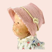"Crochet hat pink flower bonnet for Kathe Kruse doll I or any doll with 12"" circumference"