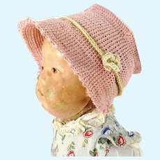 """Crochet hat pink flower bonnet for Kathe Kruse doll I or any doll with 12"""" circumference"""