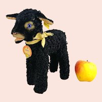 "Steiff Black Lamb Swapl with all IDs 9"" produced 1957 to 58 first edition"