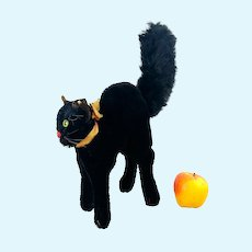 "Steiff Black Tom Cat with ID largest 9"" 1965 to 1967 produced"