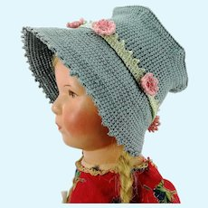 "Crochet hat blue and pink flower bonnet for large Kathe Kruse or any doll with 13"" circumference"