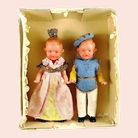 Princess and Prince Doll Pair in original box made by Preh Plastic Baby 1949 to 1959 Germany