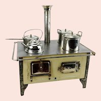 """Bing Doll Cooker Stove around 1910 original pots pan and kettle 10 by 7"""""""