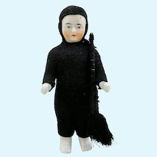 "Frozen Charlie 5"" antique china doll in chimney sweeper suit with tools"