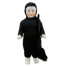 """Frozen Charlie 5"""" antique china doll in chimney sweeper suit with tools"""