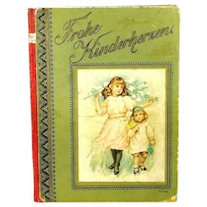 Art Nouveau German Childrens Book with beautiful 1910s lithographs and short texts