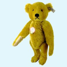"Steiff teddy bear Petsy 1927 all Steiff IDs 14"" vintage replica made 1989"