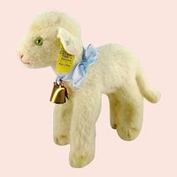"Steiff lamb all IDs produced 1965 to 67 standing 6"" white wool plush Lamby"