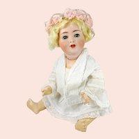 """Blue Eyed Blond Baby 18"""" Alt, Beck & Gottschalck bisque mold 1361 made 1912"""