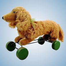 Steiff dachshund Waldi on eccentric wheels with IDs, 1966/67 vintage