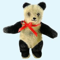 "Panda Teddy Bear 6"" tall made before 1965 black and white mohair"