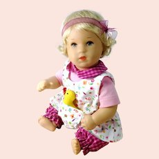 """Kathe Kruse baby 1990s vintage 7"""" plastic bathing doll in original clothes"""