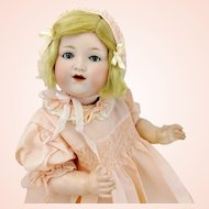 Armand Marseille baby doll with bisque head, 1925 made, 20 inches large old character doll in christening gown