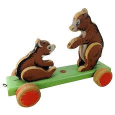 Mechanical wooden pull toy two bears with ID 1950s German vintage