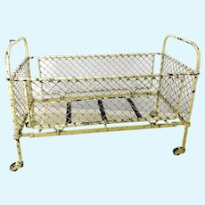 Antique White Metal Doll Bed on wheels 16 by 8""