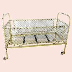 """Antique White Metal Doll Bed on wheels 16 by 8"""""""