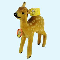 "Steiff Fawn all Steiff IDs 1968 to 1972 made 5"" velvet deer"
