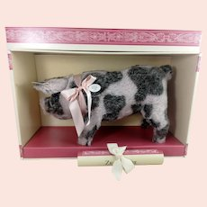 """Steiff 1926 Spotted Pig Replica mint in box 1995 made 14"""" hug-me squeaker"""