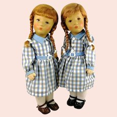 """Kathe Kruse twin doll girls from 1987 in mint condition 14"""" redheaded"""