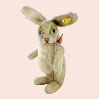 "Steiff rabbit Niki with IDs jointed midi sized 10"" vintage 1959 to 1964"