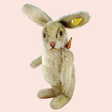"Steiff rabbit Niki with IDs jointed midi sized 10"" vintage 1959 to 1964"