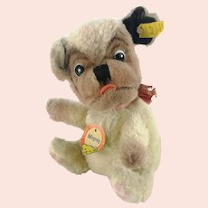 """Steiff ball dog Mopsy with all IDs vintage produced 1960 to 61 only 6"""""""