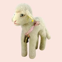 "Steiff lamb with all IDs 11"" vintage 1959 to 1964 made"