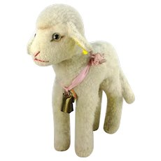 """Steiff lamb with all IDs 11"""" vintage 1959 to 1964 made"""