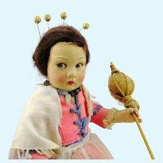"""Lenci Lucia face, 14 ½"""" vintage 1930s Italian flax spinner felt doll"""