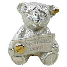 Steiff Sterling Silver Teddy Bear brooch pin vintage 1993s club present mib