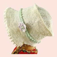 """Crochet hat off white flower bonnet for large Kathe Kruse or any doll with 13"""" circumference"""
