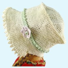 "Crochet hat off white flower bonnet for large Kathe Kruse or any doll with 13"" circumference"