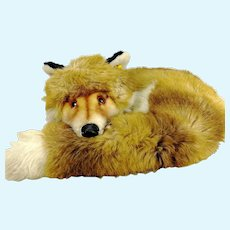 """Steiff Curled Up Fox Fuzzy with IDs 1977 to 1990 made 14"""""""