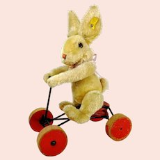 Steiff Record Rabbit Hansi on carriage with IDs vintage 1959 to 1964