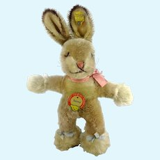 "Steiff Bunny Baby Rabbit Sassy 8"" with all IDs vintage 1959 to 1964"