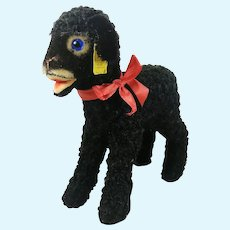 """Steiff Black Lamb Swapl with IDs 9"""" produced 1959 to 1962 last edition"""