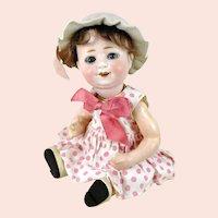 "Wilhelm Goebel bisque head doll 1900 to 1915 on sitting baby body 12"""
