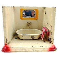 Vintage tin dollhouse bathroom with bathtub, working faucet, 1920s German