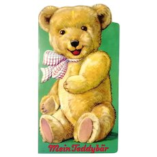 1950s Teddy Bear shaped childrens book with beautiful illustrations