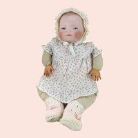 Bye Lo Baby Doll 16 inches 1920s bisque head on original cloth body