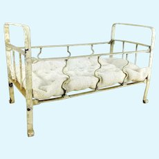 """Antique doll bed 8 by 4"""" white metal and mattress"""