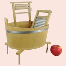 Wooden Washtub with Rack Wringer and Washboard for dolls laundry