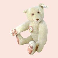 "Steiff Dicky Bear replica 1930 all IDs mint white mohair 13"" vintage 1992"