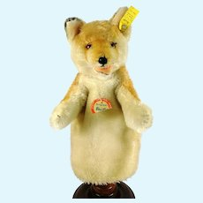 Steiff Fox Hand Puppet with all IDs vintage 1959 to 1963 produced