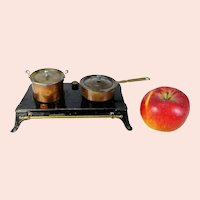 """Antique doll cooker 2 hole stove with spirit tank and copper dishes 7 by 4"""""""