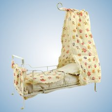 """Antique doll crib bed cot, foldable, Germany around 1920, canopy, 12 by 6"""""""