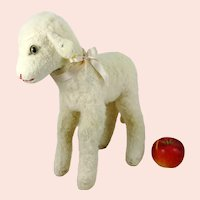 """Largest Ever Steiff Lamb with IDs vintage 1969 to 1973 standing 14"""""""