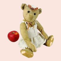 """Antique Steiff Teddy Bear with button 12"""" well loved"""